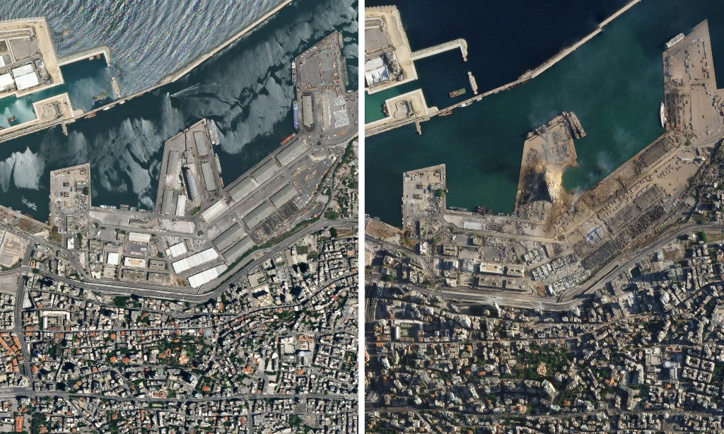 Beirut explosion: satellite images before and after the blast