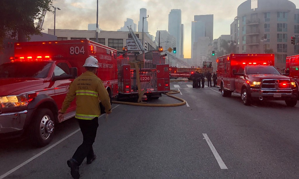 Los Angeles explosion: 11 firefighters hurt as 'hash oil factory' burns