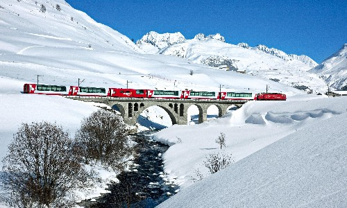 Time travels across Switzerland on the world's slowest express train