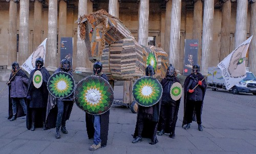 Climate activists bring Trojan horse to British Museum in BP protest