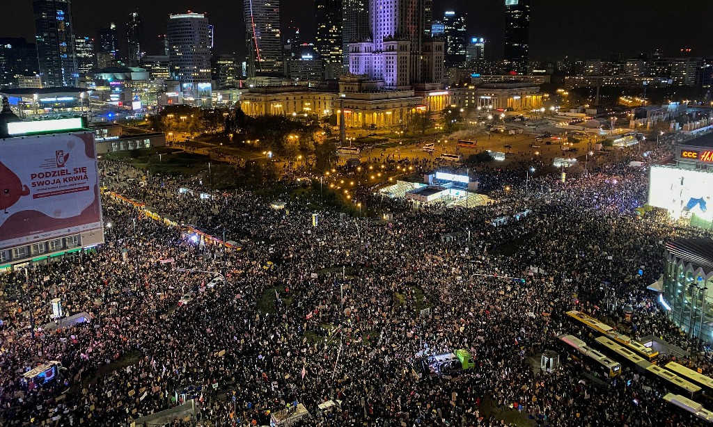 Pro-choice supporters hold biggest-ever protest against Polish government