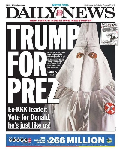New York Daily News Front Page Hypes Donald Trump's KKK Connection