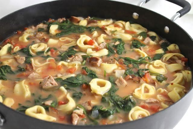 SkinnyRustic Cheese Tortellini and Sausage Soup