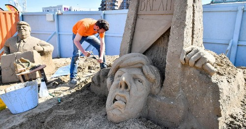 Theresa May Sand Sculpture 'Beheaded' As Artist Calls For Brexit To Be Cancelled