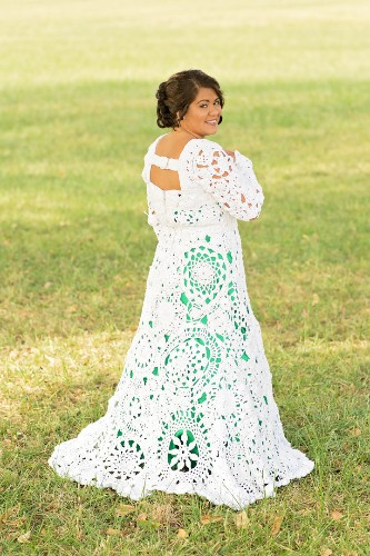 Bride And Her Aunt Spent 8 Months Crocheting A One-Of-A-Kind Wedding Dress   HuffPost Life