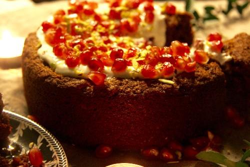 All spice Christmas cake with vanilla cashew cream