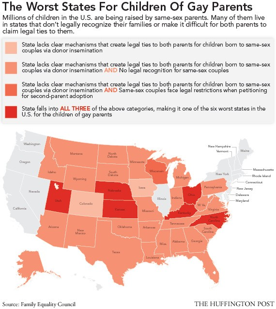 Gay Marriage And Children: The Worst States For Kids Of Same-Sex Parents