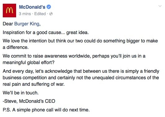 McWhopper: BK Suggests Truce, Collaboration