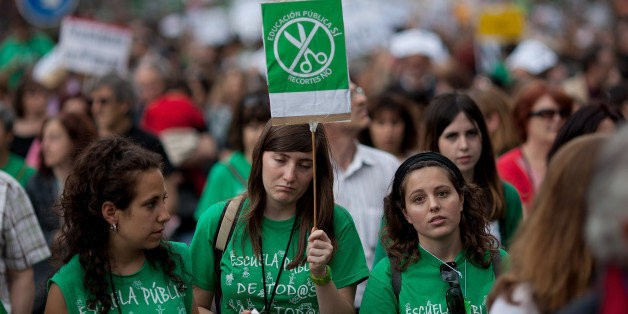 In Spain, A Green Tide Protests Education Cuts