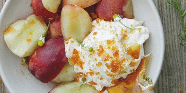 A Kitchy Kitchen Recipe: Fruit & Chamomile Whipped Cream With Toffee Crunch