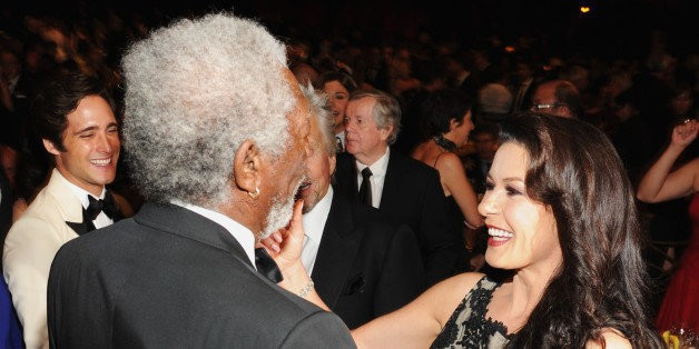 Catherine Zeta-Jones And Morgan Freeman Share Awkward Kiss