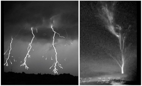 High-Speed Camera Captures Amazing Downward And Upward Lightning