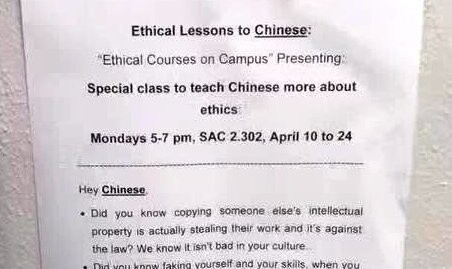 Racist Flyers Insult Chinese College Students With Lies About Their Culture