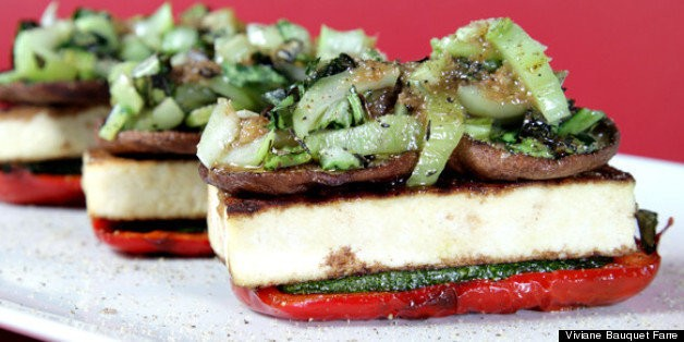 Grilled Vegetable Napolᅢᄅons With Spicy Scallion Vinaigrette