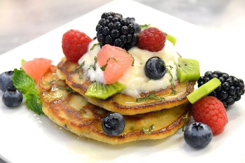 Minnesota Wild Rice Griddle Cakes and Greek Yogurt, Mixed Fruits and Honey
