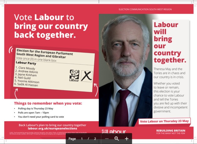 Fury As Corbyn European Elections Leaflet Suggests Labour Backs Brexit