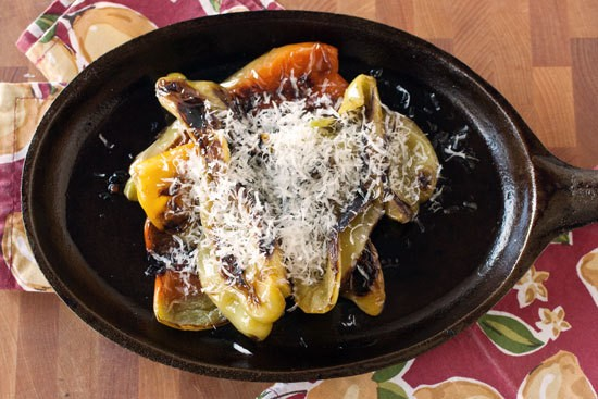 Sweet Italian Tradition: Cast Iron Charred Peppers With Parmesan