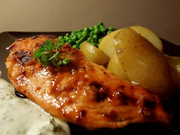 Grilled Salmon With a Chilli Glaze