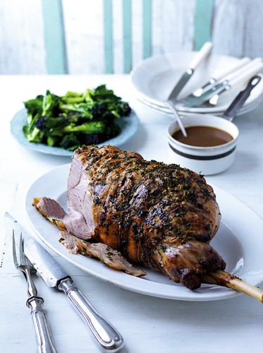 Easter Roast Lamb Recipe, With Garlic And Herb Butter And Cider Gravy