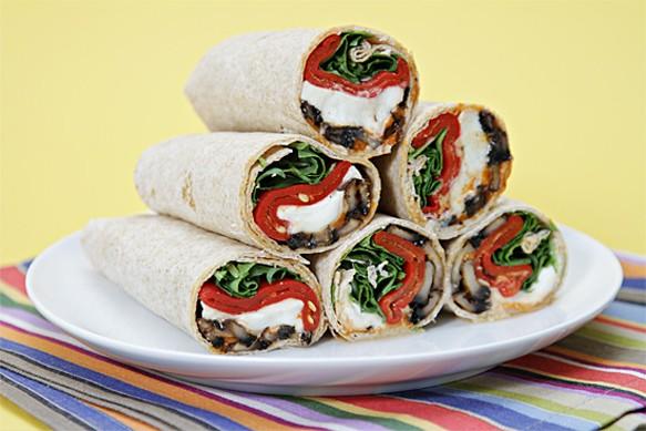 Portobello Mushroom Wraps With Buffalo Mozzarella, Piquillo Peppers and Pimentᅢᄈn Mayonnaise