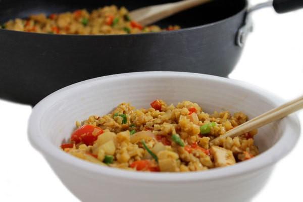 Skinny Thai Chicken, Peanut, Cauliflower Rice Stir-Fry