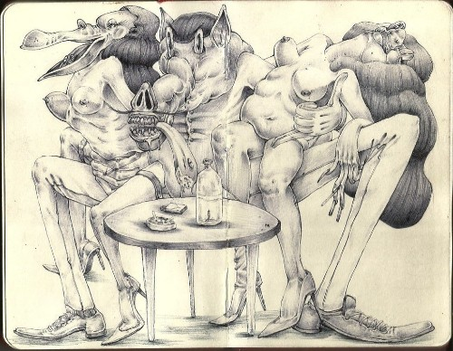Ballpoint Pen Drawings Explore The 'Ren & Stimpy' Side Of Erotica