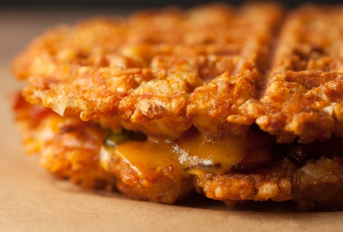 A Bacon-Jalapeᅢᄆo Grilled Cheese, Made of Waffles That Are Made of Tater Tots