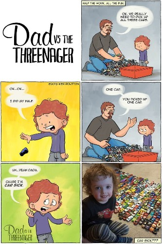 This Dad's Funny Comics Are For Anyone With A 'Threenager' | HuffPost Life