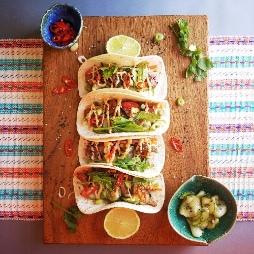 BBQ Beef Korean Tacos With Asian Slaw, Pickled Cucumber And Gochujang Aioli