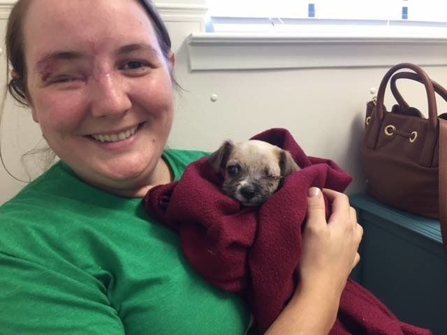 Woman Who Lost Eye In Shooting Adopts Puppy Who Lost Eye After Dog Attack