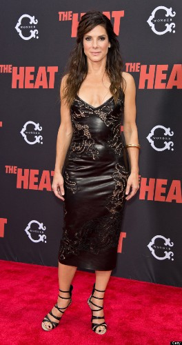 Sandra Bullock Stuns In Leather Dress At New York Premiere Of 'The Heat' (PHOTOS)