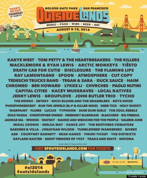 Outside Lands 2014 Lineup Includes Kanye West, Tom Petty, Macklemore & Ryan Lewis