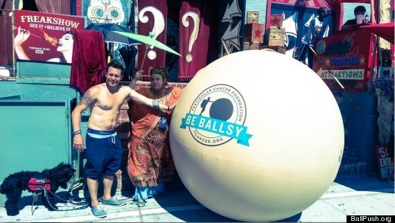 BALLSY MOVE: Thomas Cantley Pushing Giant Testicle Across US To Raise Cancer Awareness