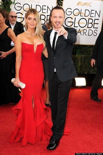 Aaron Paul And Wife Lauren Parsekian Look Gorgeous At The Golden Globes