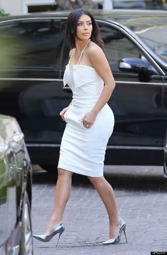 Kim Kardashian Wears All White To Her Bridal Shower In Beverly Hills