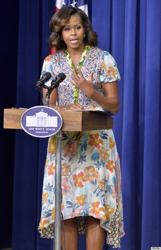 Michelle Obama's Highlights Are The Perfect Post-Bangs Hair Change (PHOTOS)