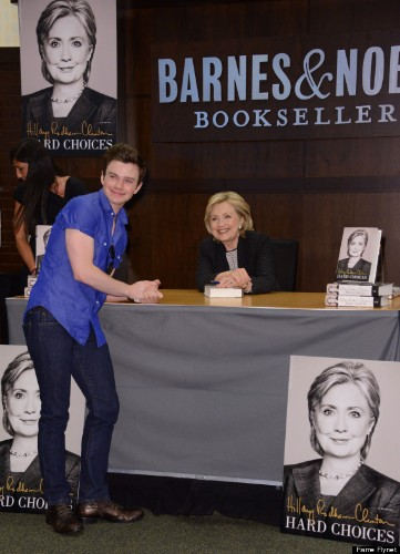 Hillary Clinton Gets A Surprise From Chris Colfer At Book Signing