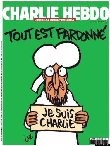 Charlie Hebdo Cover Features Muhammad Holding 'Je Suis Charlie' Sign