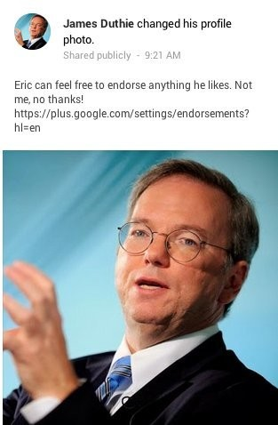 Eric Schmidt's Face Shows Up All Over Google+ In Protest Of New Ads