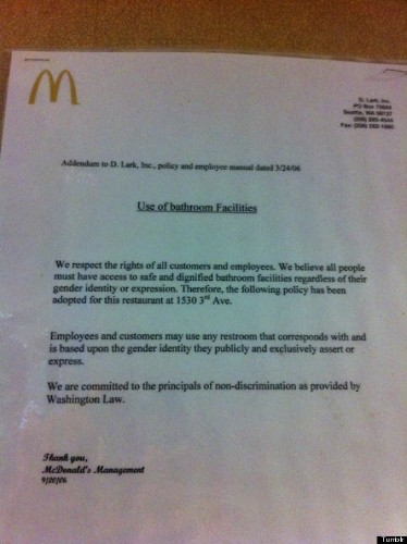 Washington McDonald's Supports Transgender Rights With Bathroom Message