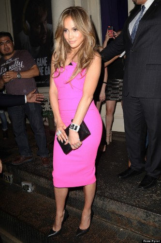 Jennifer Lopez Glows In Neon Strapless Dress