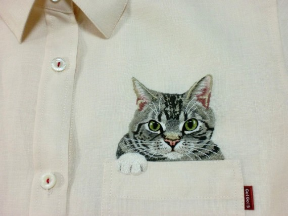 Artist Embroiders Cats On Shirts For Son, Breaks The Internet