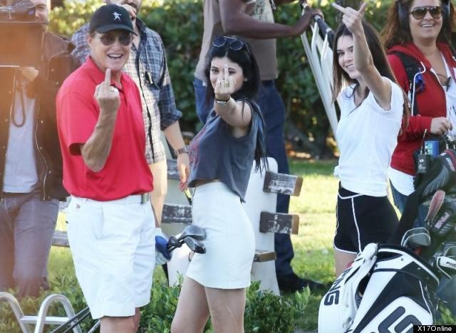 Bruce Jenner, Kylie & Kendall Jenner Give The Paps The Finger After Split Announcement