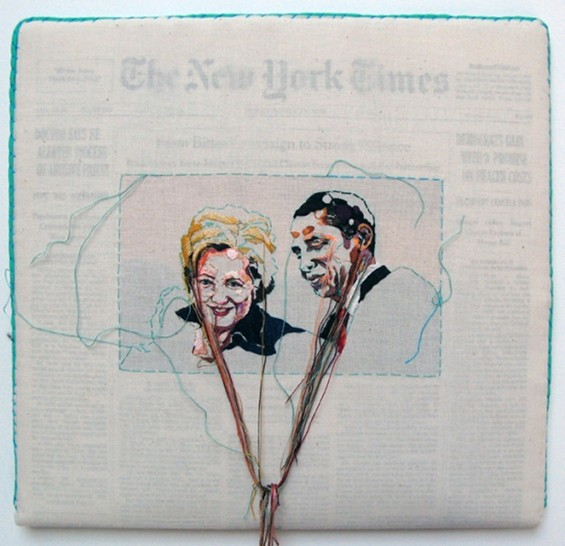 Newspaper Embroidery: Lauren DiCioccio Turns Current Events Into Works Of Art (PHOTOS)