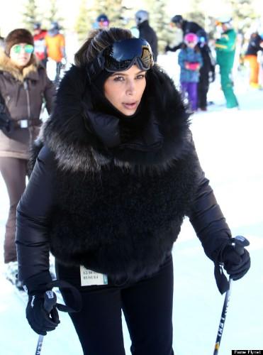 Kim Kardashian And Kanye West Go Skiing