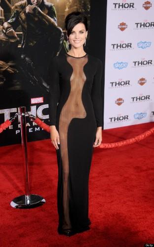 Jaimie Alexander Shocks In Sheer Dress With No Underwear At 'Thor: The Dark World' Premiere