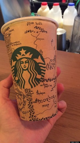 Drawing Of Middle-Earth On Coffee Cup Is One That Even Gollum Would Think Is Preeecccioouuss