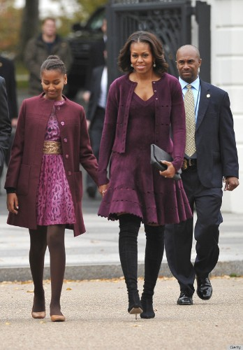 Michelle Obama And Daughters Wear Fall's Biggest Trends To Church Services (PHOTOS)