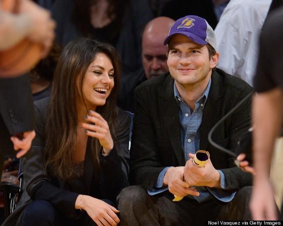 Mila Kunis And Ashton Kutcher Kiss At Los Angeles Lakers Game