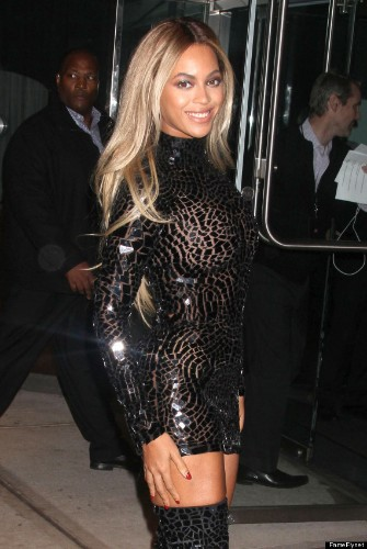 Beyonce Stuns In Skintight Minidress Paired With Thigh-High Boots